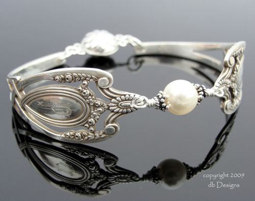 Antique Sterling Silver Spoon Bracelet Lunt Monticello Pattern Pearl