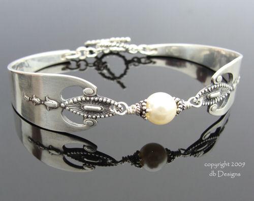 1910 Sterling Silver Spoon Bracelet Lunt Virginia Pattern Pearl