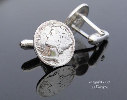 Mercury Dime Coin Cufflinks, WWII Era-silver cufflinks, coin cufflinks, dime cufflinks, dime jewelry, mercury dime cufflink
