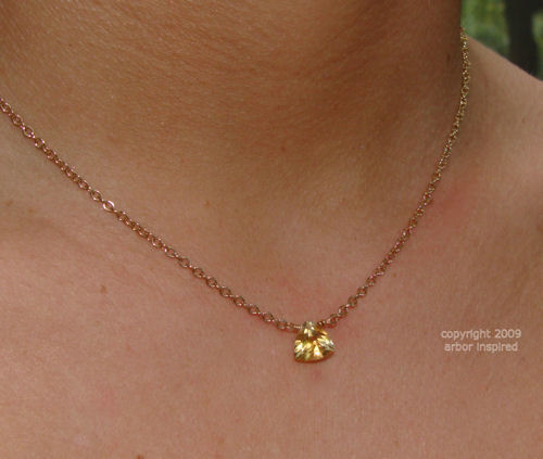Trillion Citrine Solitaire 14k Gold Filled Necklace-Trillion Citrine Solitaire 14k Gold Filled Necklace simple everyday elegance, Unique jewery gift for bridemaids graduates  moms