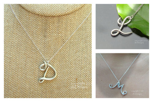 Solid Silver Elegant Script Initial Necklace-Solid Silver Elegant Script Initial Necklace, silver monogram, reclaimed silver pendant
