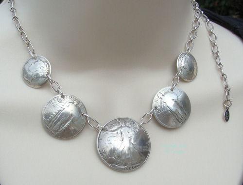 Vintage Silver Walking Liberty Half Dollar Coin Necklace-coin necklace, coin jewelry, silver coin necklace, vintage coin necklace, walking liberty half dollar, mercury dimes