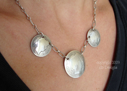 Antique Silver Barber Coin Necklace-silver coin necklace, vintage silver coins, coin jewelry, vintage necklace