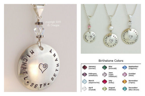 Large Custom Sterling Silver Personalized Name Pendant with Pearl or Swarovski Crystal Birthstone-Name pendant, birthstone jewelry, stamped name necklace, mommy jewelry, grandma jewelry, personalized pendant, Large Hammered Sterling Silver Personalized Name Pendant with Pearl or Crystal birthstone