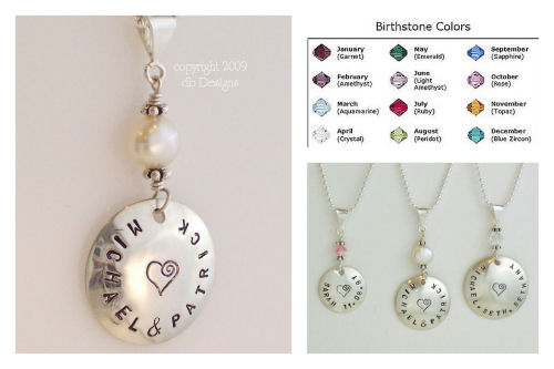 Medium Custom Sterling Silver Personalized Name Pendant with Pearl or Swarovski Crystal Birthstone-Name pendant, birthstone jewelry, stamped name necklace, mommy jewelry, grandma jewelry, personalized pendant, Large Hammered Sterling Silver Personalized Name Pendant with Pearl or Crystal birthstone