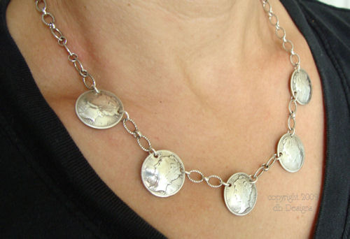 Vintage Silver Mercury Dime Coin Necklace, WWII era-dime necklace, coin necklace, mercury dime necklace, silver coin necklace, coin jewelry, vintage coins