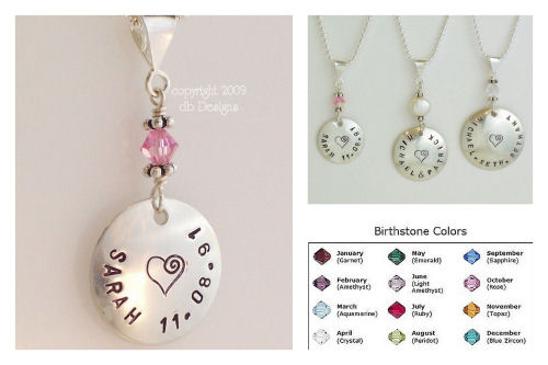 Small Custom Sterling Silver Personalized Name Pendant with Pearl or Swarovski Crystal Birthstone-Name pendant, birthstone jewelry, stamped name necklace, mommy jewelry, grandma jewelry, personalized pendant, Large Hammered Sterling Silver Personalized Name Pendant with Pearl or Crystal birthstone
