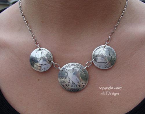 Walking Liberty Half Dollar Eagle Side Coin Necklace-coin necklace, vintage coin necklace, walking liberty half dollar, mercury dimes, silver coin necklace