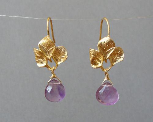 Golden Three Leaf Earrings with Custom Gemstone Briolettes-amethyst gold earrings, briolette earrings, gold satin finish earrings, flower earrings, orchid earrings, organic jewelry, wedding jewelry, bridesmaid jewelry, custom bridal jewelry,  briolette earrings, gold earrings, flower earrings, organic jewelry, wedding jewelry, bridesmaid jewelry, custom bridal jewelry, matte gold branch earrings, Gold and custom gemstone branch twig earrings, briolette branch earrings, gold earrings, custom gemstone jewelry, organic jewelry, wedding jewelry, custom bridesmaid jewelry gift, briolette earrings, gold earrings, branch, twig earrings, flower earrings, organic jewelry, wedding jewelry, bridesmaid jewelry, custom bridal jewelry