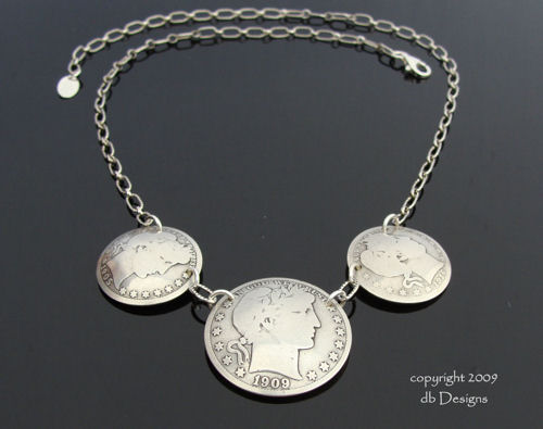 Antique Barber Half Dollar Triple coin Necklace-silver coin necklace, vintage silver coins, coin jewelry, vintage necklace