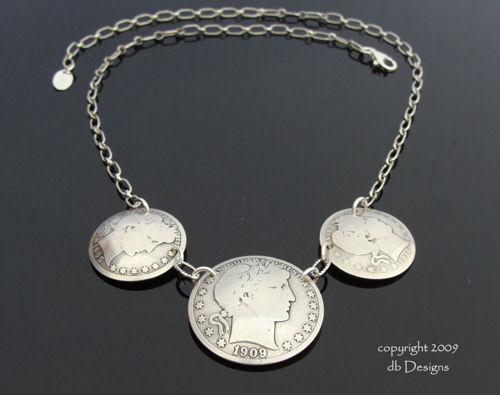 Antique Barber Half Dollar Triple coin Necklace-silver coin necklace, vintage silver coins, coin jewelry, vintage necklace