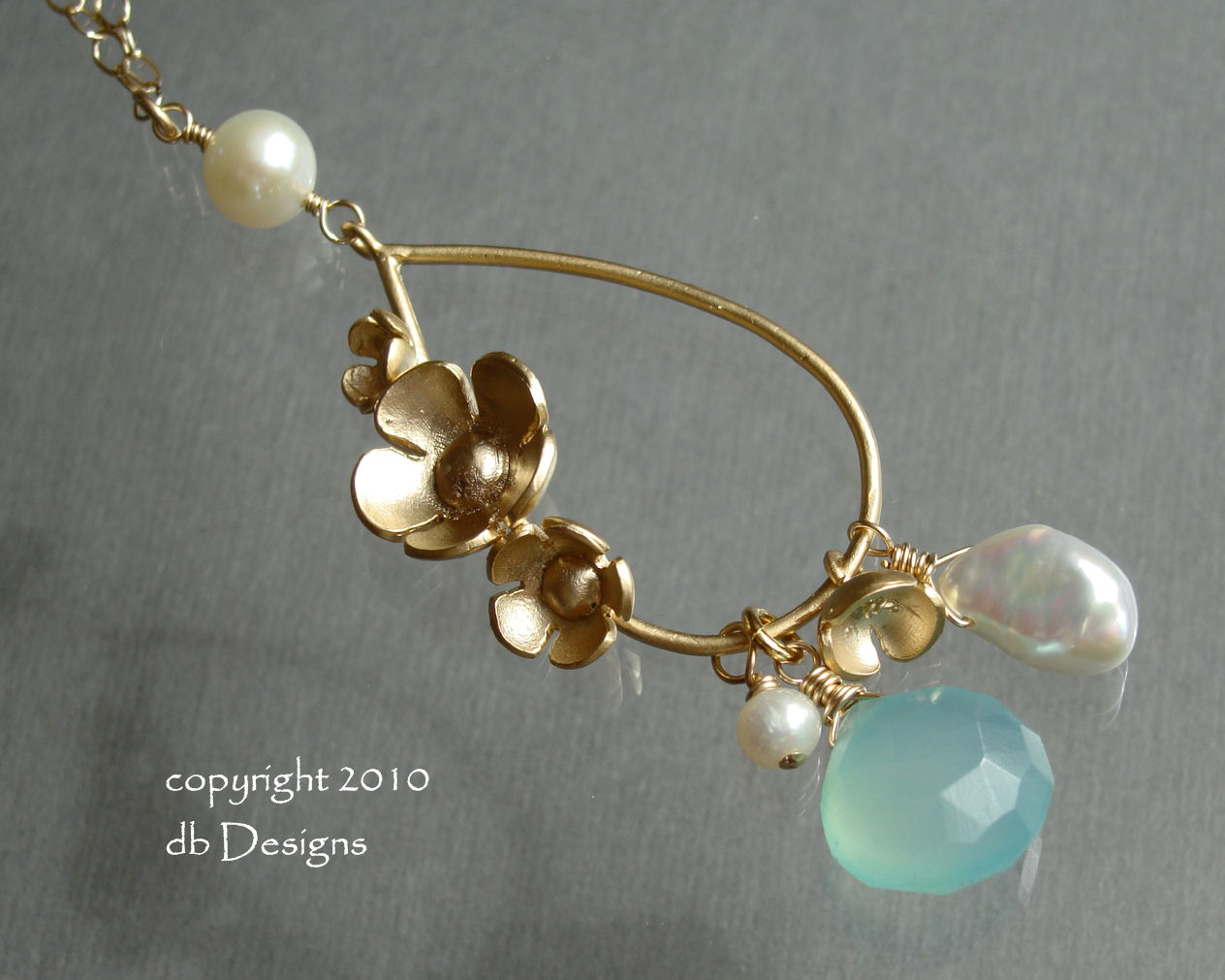 Golden Floral Bouquet Necklace with dangles of Faceted Custom Gemstone and cultured pearls-Golden Floral Bouquet necklace with dangles of custome faceted gemstone and cultured pearls, unique custom jewelry gift for bridesmaids, mothers, grandmothers, flower pendant, gold filled chain