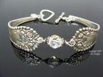 Vintage Sterling Silver Spoon Bracelet, Gorham Lancaster Pattern - Crystal-spoon bracelet, Gorham silver spoon, sterling silver, vintage, monogram, swarovski crystal