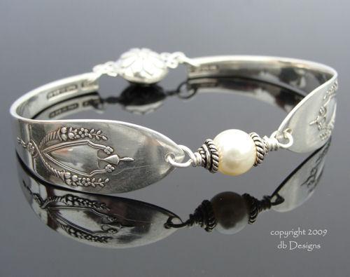 Vintage Sterling Silver Spoon Bracelet, Lunt Mt. Vernon Pattern - Pearl-spoon bracelet, lunt Mt. Vernon, spoon, sterling silver bracelet, vintage, swarovski crystal
