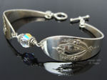 Vintage Sterling Silver Spoon Bracelet, Lunt Mt. Vernon Pattern - Crystal-spoon bracelet, lunt mt. vernon spoon, sterling silver, flatware bracelet, vintage, swarovski crystal jewelry