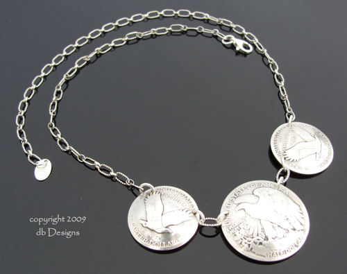 Walking Liberty Half Dollar Eagle Side Coin Necklace-coin necklace, vintage coin necklace, walking liberty half dollar, mercury dimes, silver coin necklace
