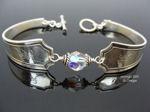 Vintage Sterling Silver Spoon Bracelet, Tilden Pattern - Crystal-spoon bracelet, sterling, vintage, monogram, sterling spoon bracelet