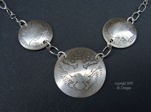 Early 1900's Triple Silver Barber Coin Necklace-silver coin necklace, dime necklace, vintage coins, barber coins