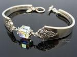 """Vintage Sterling Silver Spoon Bracelet, Royal Crest """"Castle Rose"""" - Crystal cube-spoon bracelet, sterling silver, vintage, swarovski crystal"""