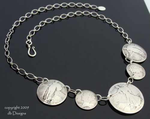 Five Walking Liberty Half Dollar Coin Necklace-coin necklace, coin jewelry, silver coin necklace, vintage coin necklace, walking liberty half dollar, mercury dimes