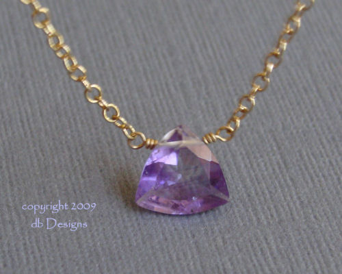 Trillion Amethyst Solitaire 14k Gold Filled Necklace-Trillion Amethyst Solitaire 14k Gold Filled Necklace simple everyday elegance, Unique jewery gift for bridemaids graduates  moms
