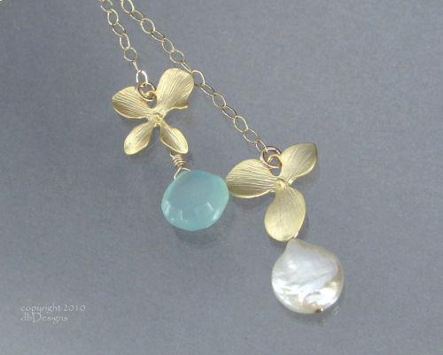 Golden Orchid Custom Gemstone and Pearl Lariet-aqua chalcedony necklace, lariet, briolette, coin pearl, gold necklace, flower necklace, orchid jewelry, organic jewelry, wedding jewelry, bridesmaid jewelry, custom bridal jewelry