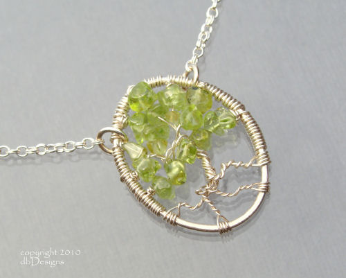 Tree of Life or Bonsai Tree Custom Gemstone and Sterling Pendant Necklace-Tree of Life or Bonsai Tree Custom Gemstone and Sterling Pendant Necklace, beautiful necklace is perfect for celebrating family events, babies, adoptions, weddings, and special birthdays for grandmothers, peridot, amethyst, garnet