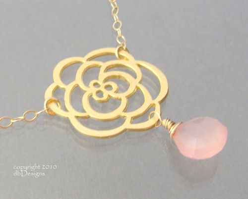 Golden Cabbage Rose Necklace with Custom Gemstone Briolette in 14k gold filled-Golden Cabbage Rose Necklace with Custom Gemstone Briolette in 14k gold filled