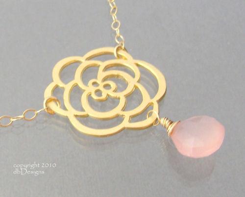 Golden Cabbage Rose Necklace with Custom Gemstone Briolette in 14k gold filled-Golden Cabbage Rose Necklace with Custom Gemstone Briolette in 14k gold filled