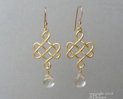 Golden Celtic Knot Earrings with Custom Gemstone Briolettes-quartz briolette  earrings, celtic knot earrings,  briolette earrings, gold satin finish earrings, flower earrings, orchid earrings, organic jewelry, wedding jewelry, bridesmaid jewelry, custom bridal jewelry,  briolette earrings, gold earrings, flower earrings, organic jewelry, wedding jewelry, bridesmaid jewelry, custom bridal jewelry, matte gold branch earrings, Gold and custom gemstone branch twig earrings, briolette branch earrings, gold earrings, custom gemstone jewelry, organic jewelry, wedding jewelry, custom bridesmaid jewelry gift, briolette earrings, gold earrings, branch, twig earrings, flower earrings, organic jewelry, wedding jewelry, bridesmaid jewelry, custom bridal jewelry