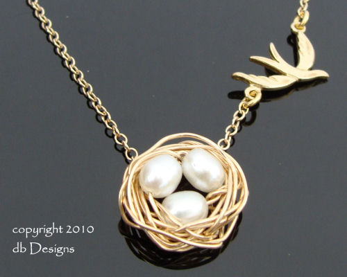 Pearl Bird Nest Fly Away Necklace-Gold and Cultured Pearl Bird Nest Fly Away Necklace, 14k Gold Filled Necklace simple everyday elegance, Custom jewelry for mom, simply elegant bridal jewelry, Unique custom jewery gift for bridemaids graduates  moms