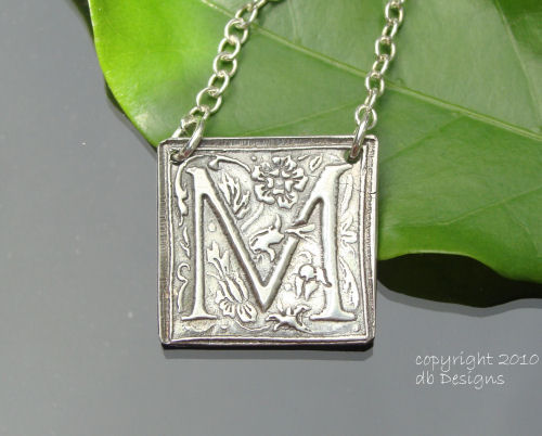 Solid Silver Luxury Embossed Initial set on Sterling silver Necklace-silver initial pendant, silver monogram, recycled silver, Solid Silver Luxury Embossed Initial set on Sterling silver Necklace