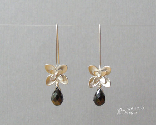 Silver Blossom Dangle Earrings with Custom Gemstone Briolettes-faceted Onyx briolette earrings, silver earrings, flower earrings, organic jewelry, custom wedding jewelry, bridesmaid jewelry, custom bridal jewelry, satin finished silver earrings, matte silver flower earrins