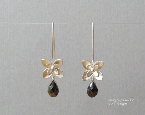 Silver Blossom Dangle Earrings with Custom Gemstone Briolettes-faceted Onyx briolette earrings, silver earrings, flower earrings, organic jewelry, custom wedding jewelry, bridesmaid jewelry, custom bridal jewelry, satin finished silver earrings, matte silver flower earrins