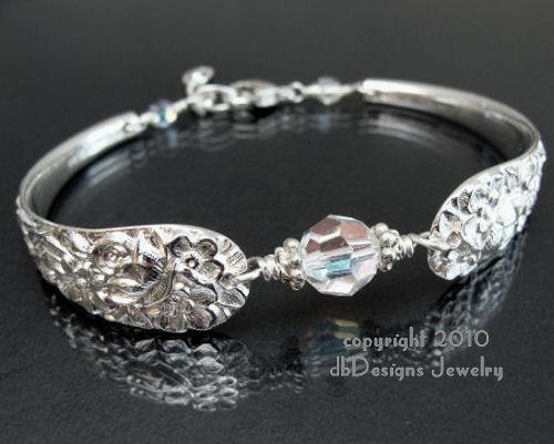 Antique Sterling Silver Spoon Bracelet, Kirk Stieff Princess - Crystal-spoon bracelet, kirk stieff spoon, sterling silver bracelet, vintage, antique, swarovski crystal, pearl, bridal jewelry