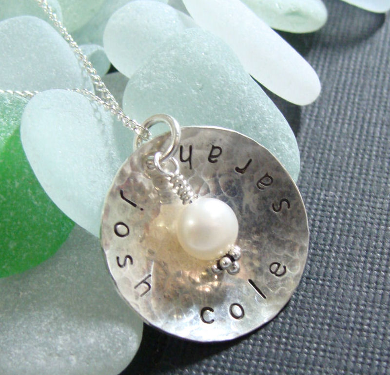Small Hammered Sterling Silver Personalized Name Pendant with Pearl or Crystal Birthstone-Handmade, Name pendant, birthstone jewelry, stamped name necklace, mommy jewelry, grandma jewelry, personalized pendant, hammered Sterling Silver Personalized Name Pendant with Pearl or Crystal birthstone