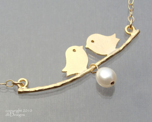 Gold Love Bird and Cultured Pearl Necklace-Gold Love Bird and Cultured Pearl Necklace, 14k gold filled Necklace simple everyday elegance, Custom jewelry for mom, simply elegant bridal jewelry, Unique custom jewery gift for bridemaids graduates  moms
