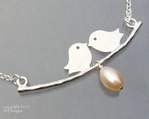 Silver Love Bird and Cultured Pearl Necklace-Silver Love Bird and Cultured Pearl Necklace, Sterling silver rhodium Necklace simple everyday elegance, Custom jewelry for mom, simply elegant bridal jewelry, Unique custom jewery gift for bridemaids graduates  moms