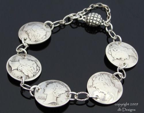 Mercury Dime, WWII Era, coin Bracelet-dime bracelet, mercury dime bracelet, coin necklace, coin jewelry, vintage coins, coin bracelet
