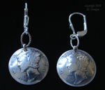 Vintage Silver Mercury Dime Coin Earrings, WWII era-coin earrings, mercury dime earrings, coin earrings, silver coin earrings