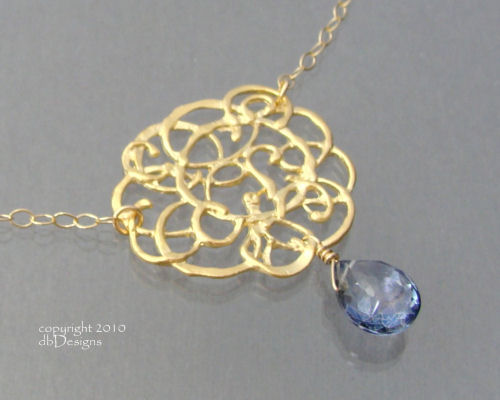 Golden Cloud Necklace with Custom Faceted Gemstone in 14K gold filled-Golden Cloud Necklace with Custom Faceted Gemstone in 14K gold filled, great unique gift for bridesmaids, mothers, grandmother