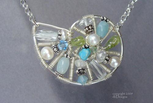 Gemstone Mosaic Nautilus-nautilus necklace, gemstone mosaic, mosaic necklace, sterling silver wire, wire jewelry, artisan jewelry, beach jewelry, shell necklace