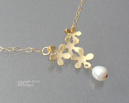 Golden Mod Flower Necklace with a Custom Gemstone in 14k gold filled-Golden Mod Flower Necklace with a custom gemstone or Pearl in 14k gold filled, unique custom bridal necklace, custom wedding jewelry, custom bridesmaid jewelry gift