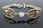 Vintage Sterling Silver Spoon Bracelet - Crystal-spoon bracelet, sterling silver, vintage, swarovski crystal