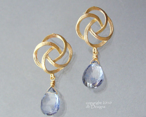 Golden Swirl Knot Earrings with Custom Gemstone Briolettes-blue topaz earrings, swirl earrings, gold knot earrings, briolette earrings, gold satin finish earrings, flower earrings, orchid earrings, organic jewelry, wedding jewelry, bridesmaid jewelry, custom bridal jewelry,  briolette earrings, gold earrings, flower earrings, organic jewelry, wedding jewelry, bridesmaid jewelry, custom bridal jewelry, matte gold branch earrings, Gold and custom gemstone branch twig earrings, briolette branch earrings, gold earrings, custom gemstone jewelry, organic jewelry, wedding jewelry, custom bridesmaid jewelry gift, briolette earrings, gold earrings, branch, twig earrings, flower earrings, organic jewelry, wedding jewelry, bridesmaid jewelry, custom bridal jewelry