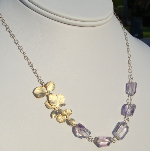 Golden Cascading Orchid Amethyst Necklace-amethyst faceted nugget necklace, gold necklace, branch, twig nechlace, flower necklace, orchid necklace, organic jewelry, wedding jewelry, bridesmaid jewelry, custom bridal jewelry