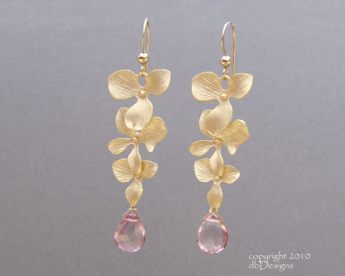 Golden Cascading Orchid Earrings with Custom Gemstone Briolettes-pink topaz earrings, briolette earrings, gold satin finish earrings, flower earrings, orchid earrings, organic jewelry, wedding jewelry, bridesmaid jewelry, custom bridal jewelry,  briolette earrings, gold earrings, flower earrings, organic jewelry, wedding jewelry, bridesmaid jewelry, custom bridal jewelry, matte gold branch earrings, Gold and custom gemstone branch twig earrings, briolette branch earrings, gold earrings, custom gemstone jewelry, organic jewelry, wedding jewelry, custom bridesmaid jewelry gift, briolette earrings, gold earrings, branch, twig earrings, flower earrings, organic jewelry, wedding jewelry, bridesmaid jewelry, custom bridal jewelry