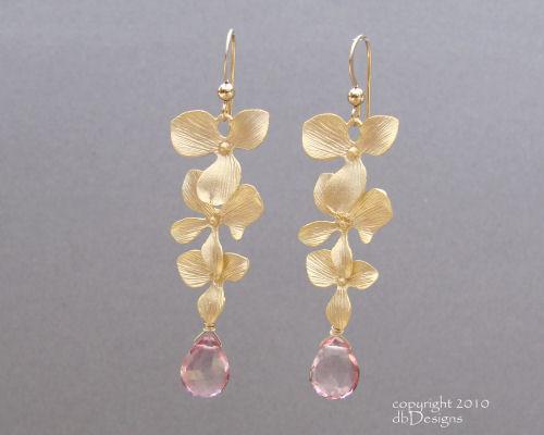 Golden Cascading Orchid Earrings with Custom Gemstone Briolettes-pink topaz earrings, briolette earrings, gold satin finish earrings, flower earrings, orchid earrings, organic jewelry, wedding jewelry, bridesmaid jewelry, custom bridal jewelry,  briolette earrings, gold earrings, flower earrings, organic jewelry, wedding jewelry, bridesmaid jewelry, custom bridal jewelry, matte gold branch earrings, Gold and custom gemstone branch twig earrings, briolette branch earrings, gold earrings, custom gemstone jewelry, organic jewelry, wedding jewelry, custom bridesmaid jewelry gift, briolette earrings, gold earrings, branch, twig earrings, flower earrings, organic jewelry, wedding jewelry, bridesmaid jewelry, custom bridal jewelry